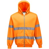 Portwest B305 Orange Hi Vis Zip Front Hooded Sweatshirt