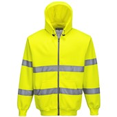 Portwest High Visibility Zip Front Hooded Sweatshirt Yellow