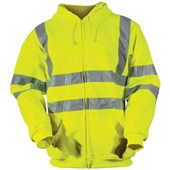 High Visibility Zip Hooded Sweatshirt Yellow