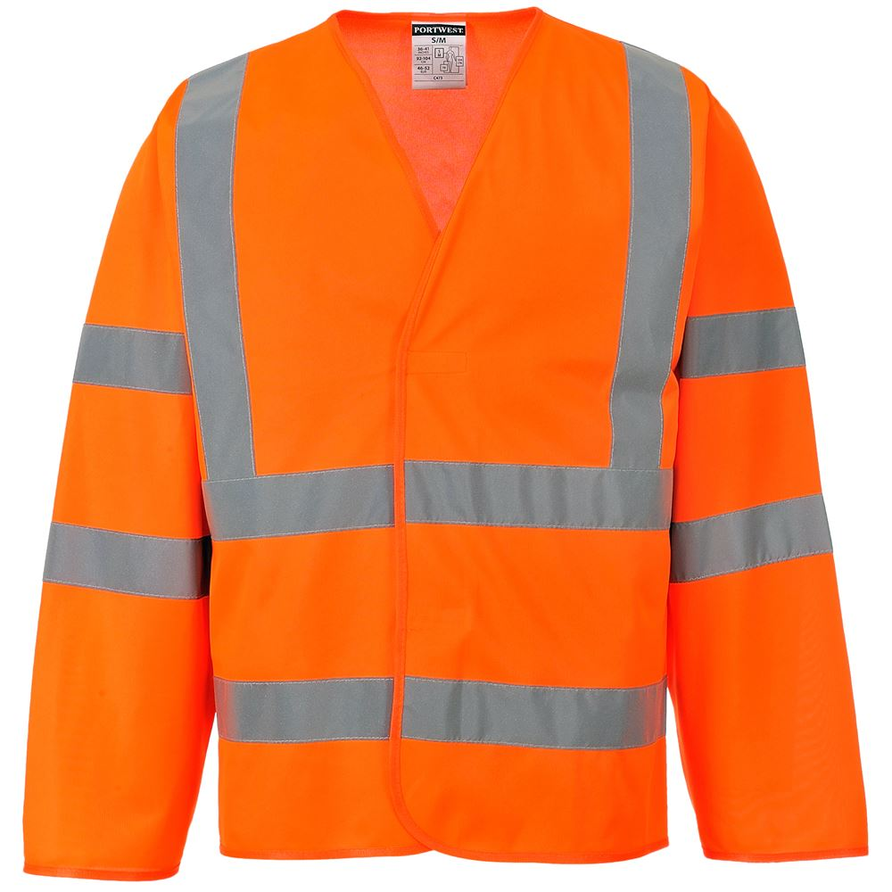 Portwest High Visibility Long Sleeve Vest Go Rt Orange