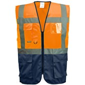 Portwest High Visibility Two Tone Executive Vest Orange/Navy