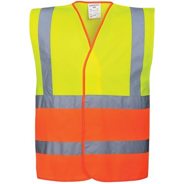Portwest High Visibility Two Tone Adjustable Vest Yellow/Orange