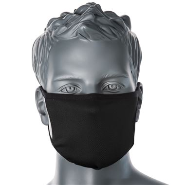 Reusable 3 Ply Fabric Face Mask Black (Single Mask)