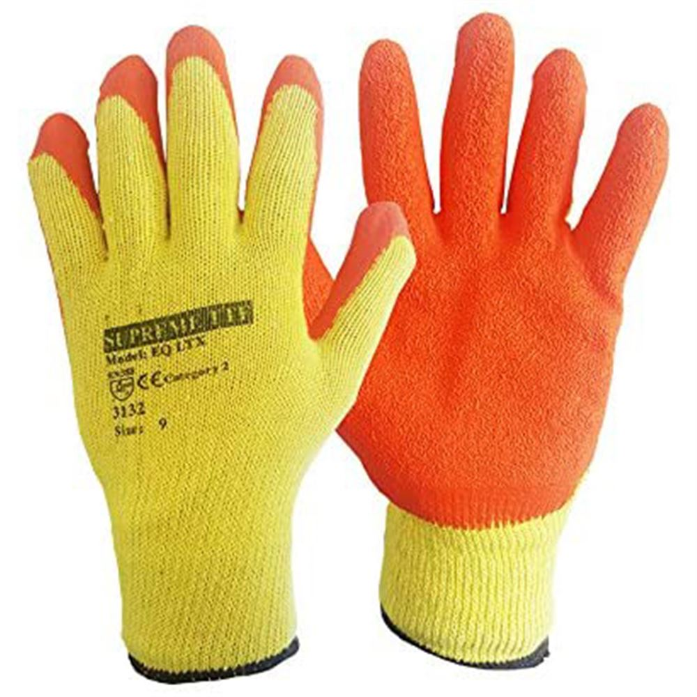 Orange Builders Grip Gloves with Latex Palm