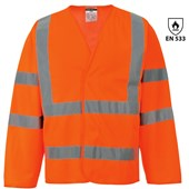 Bizflame High Visibility Flame Retardant Long Sleeve Vest Orange