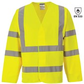 Bizflame High Visibility Flame Retardant Long Sleeve Vest Yellow