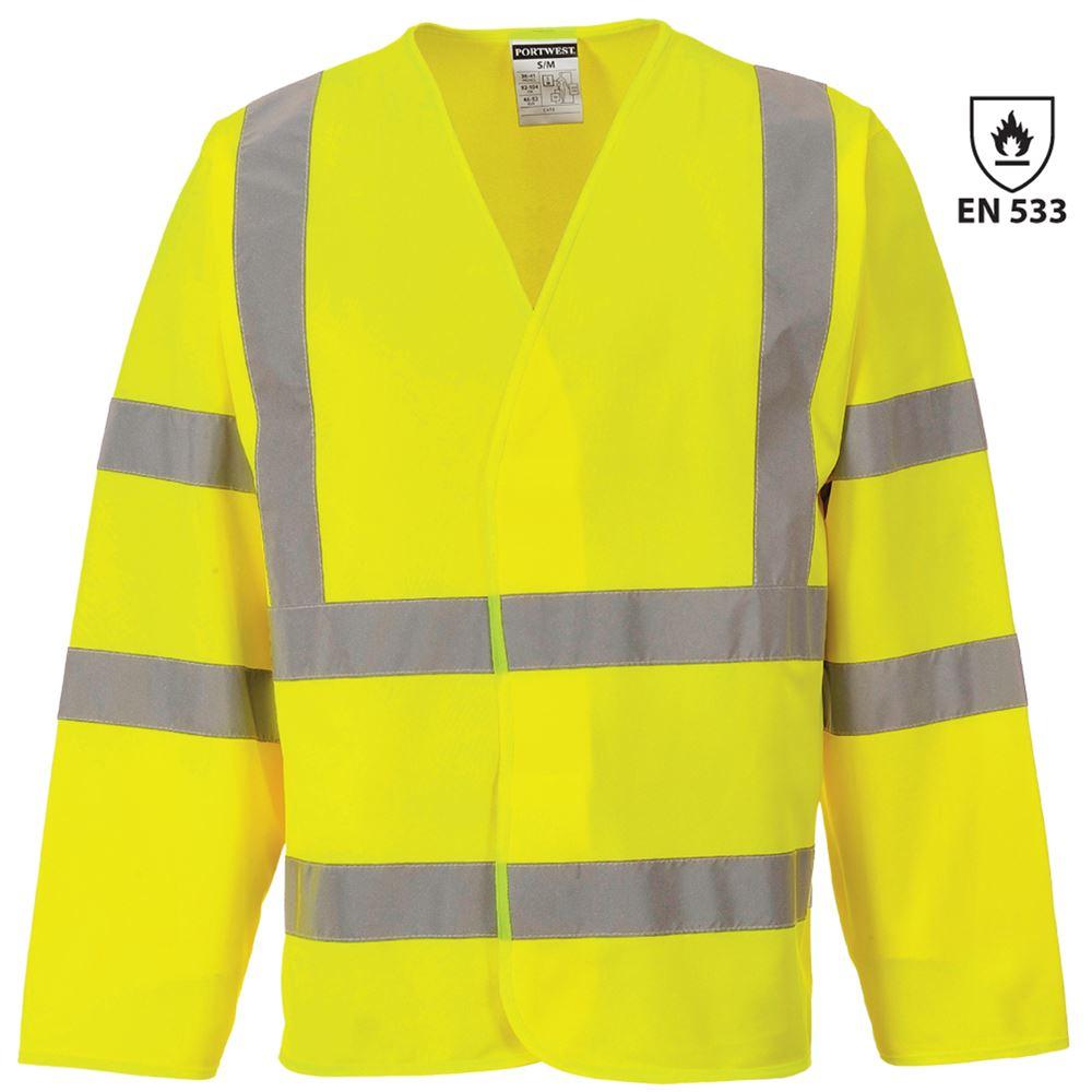 fe9118e1f99a Bizflame Hi Vis Flame Retardant Long Sleeve Vest Yellow