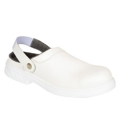 Portwest FW82 White Steelite Microfibre Safety Clog SB