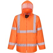 Portwest High Visibility Waterproof Lightweight PVC Rain Jacket Orange
