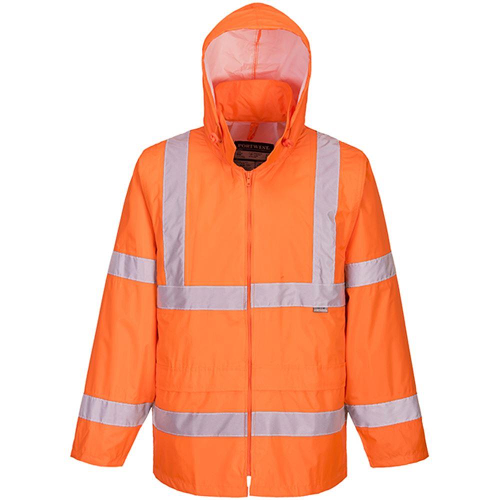 Portwest Hi Vis Waterproof Lightweight Pvc Rain Jacket Orange