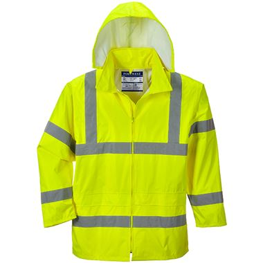 Portwest High Visibility Waterproof Lightweight PVC Rain Jacket Yellow