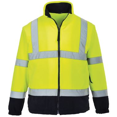 Portwest High Visibility Two Tone Mesh Lined Fleece Jacket Yellow/Navy