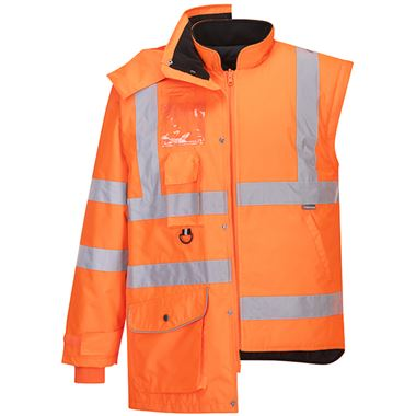 Portwest RT27 Orange Hi Vis 7-in-1 Breathable Jacket