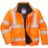 Portwest High Visibility Deluxe Rail Padded Bomber Jacket GO/RT Orange