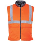 Portwest High Visibility Reversible Rail Bodywarmer GO/RT Orange