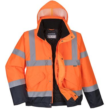 Portwest High Visibility Two Tone Deluxe Padded Bomber Jacket Orange/Navy