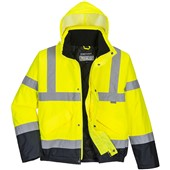 Portwest High Visibility Two Tone Deluxe Padded Bomber Jacket Yellow/Navy
