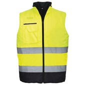 High Visibility Two Tone Bodywarmer Yellow/Navy