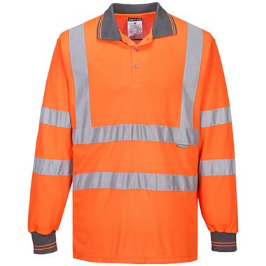 Portwest High Visibility Long Sleeved Polo Shirt GO/RT Orange