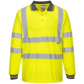Portwest High Visibility Long Sleeved Polo Shirt Yellow