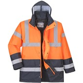 Portwest High Visibility Two Tone Padded Jacket Orange/Navy