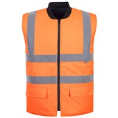 Portwest High Visibility Reversible Bodywarmer GO/RT Orange
