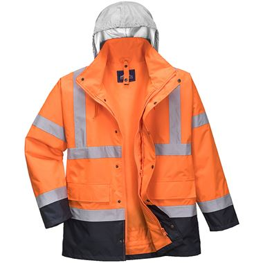 Portwest Two Tone High Visibility 4-in-1 Jacket Orange/Navy