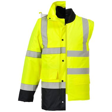 Portwest Two Tone High Visibility 4-in-1 Jacket Yellow/Navy