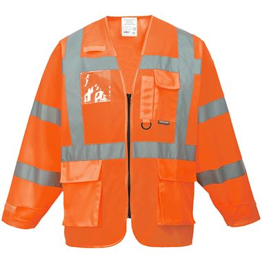 Portwest High Visibility Executive Long Sleeve Vest GO/RT Orange