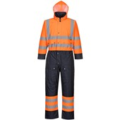 Portwest High Visibility Contrast Quilt Lined Coverall Orange/Navy
