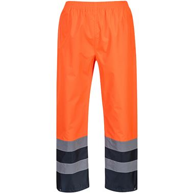 Portwest High Visibility Two Tone Waterproof Over Trousers Orange/Navy
