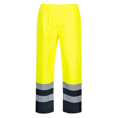 Portwest High Visibility Two Tone Waterproof Over Trousers Yellow/Navy