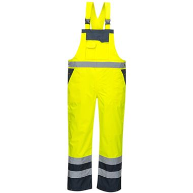 Portwest High Visibility Contrast Waterproof Bib & Brace Yellow/Navy