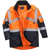 Portwest High Visibility Two Tone Deluxe Breathable Mesh Lined Jacket Orange/Navy