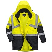Portwest High Visibility Two Tone Deluxe Breathable Mesh Lined Jacket Yellow/Navy