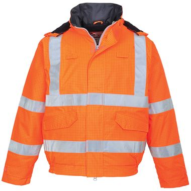 Bizflame High Visibility Flame Retardant Anti-Static Padded Bomber Jacket GO/RT Orange