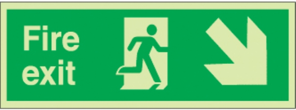 fire exit running man right arrow diag. down right