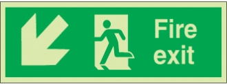 fire exit running man right arrow diag. down left