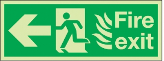 fire exit flames man arrow left
