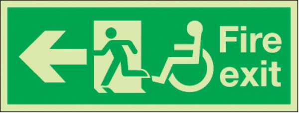 fire exit arrow left running man wheelchair