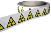 radiation labels on a roll