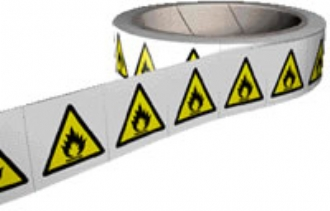 flammable labels on a roll
