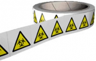 biohazard labels on a roll