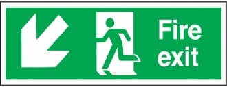 fire exit arrow diagonal down left