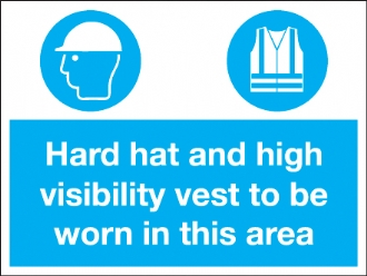 hard hat and high visibility vest to be worn