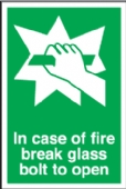 fire break glass/ bolt to open