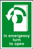 in emergency turn to open-left