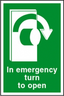 in emergency turn to open-right