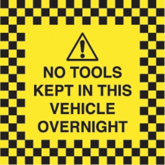 no tools kept in this vehicle overnight (reverse printed)