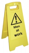 Men at Work cleaning stand